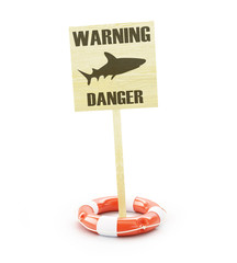 dangerous shark warning sign
