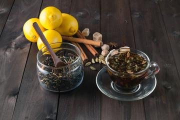Glass jar of narural raw herbal tea