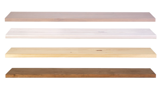 Wooden shelves isolated on white background