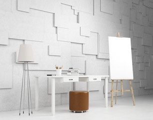 Workshop with an easel