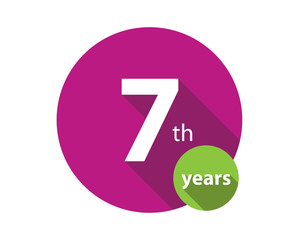 7 years purple circle anniversary logo