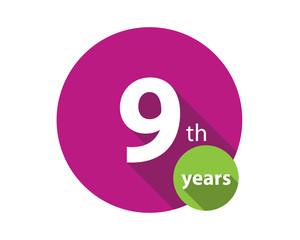 9th years purple circle anniversary logo