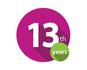 13th years purple circle anniversary logo