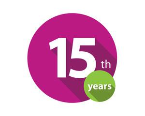 15th years purple circle anniversary logo