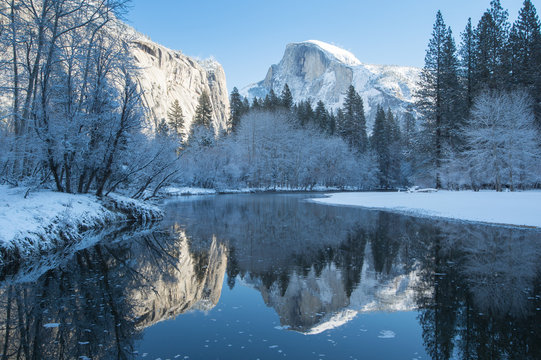 haft dome reflection in yosemite national park winter