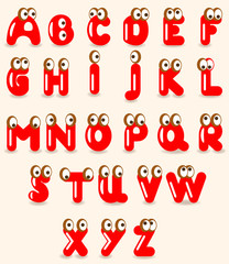 Funny alphabet with eyes