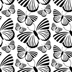 Black and white seamless pattern with  butterflies