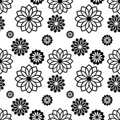 Black and white seamless pattern with decorative flowers