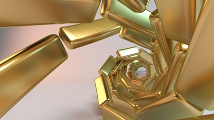 Golden Abstract Background created from spiral cubes along spline