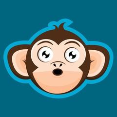 Surprised Monkey Ape Head Cartoon