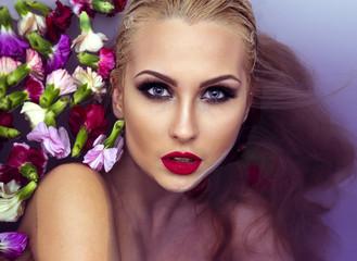 Closeup beauty portrait of blonde woman.