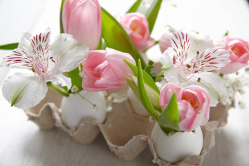 Easter decoration with flowers