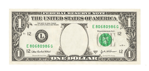 Blank 1 dollar banknote isolated