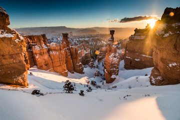 Hoodoos Covered in Winter Snow in Bryce Canyon National Park, Utah