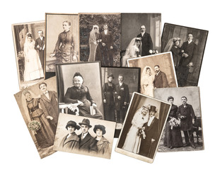 Vintage family and wedding photos. Nostalgic sentimental picture