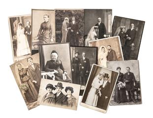 Vintage family and wedding photos. Nostalgic sentimental picture