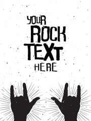 Rock hands silhouettes on a concert , grunge template for your s