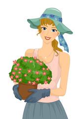 Girl Gardening Flower Pot