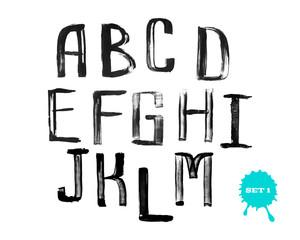 Grunge uneven handwritten alphabet, vintage calligraphy, stamp s