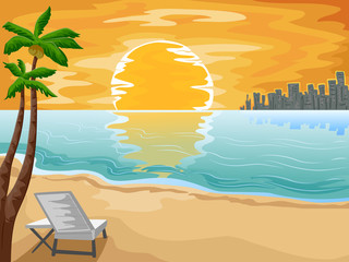 City Beach Chair Sun Set Scene