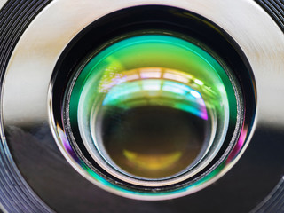 color reflection on glass in the camera lens