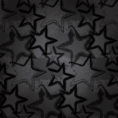 Grunge rock star background, brush smear stars