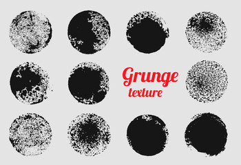 Grunge circle vector element set. Stamp stain texture