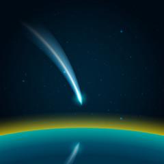 Comet in space vector