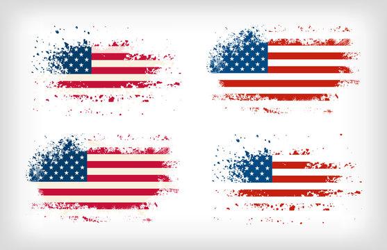 Grunge american ink splattered flag vectors