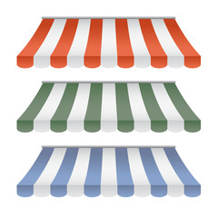 Set Of Striped Awnings : Vector Illustration