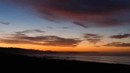 Pacific Coast Sunrise Dramatic Saturated Orange Hues Over Ocean