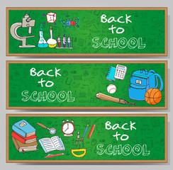 Freehand drawing school items, Back to School. Hand drawing set of school supplies sketchy doodles vector illustration, card templates, science, physics, calculus, oral exam, history, biology