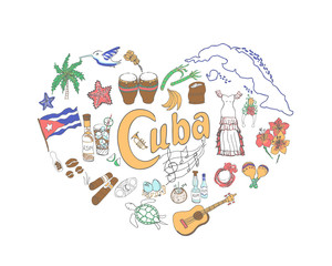 Set of hand drawn Cuba icons, heart shape, Cuban sketch illustration, doodle elements, Isolated national elements made in vector. Travel to Cuba icons for cards and web pages