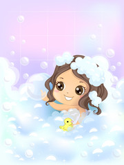 Kid Girl Bath Time Bubbles Duckie