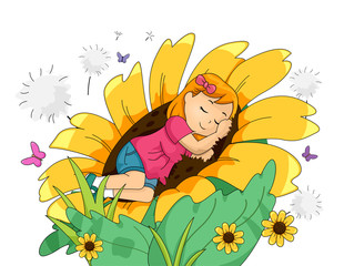 Kid Girl Sleeping Giant Sunflowers