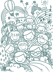 Stickman School Kids Happy Doodles
