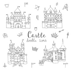 Set of hand drawn cartoon fairy tale castle icons, castle doodle vector sketch with set of fairytale, game icons - crossbow, arrow, knight helmet, flag,  crown