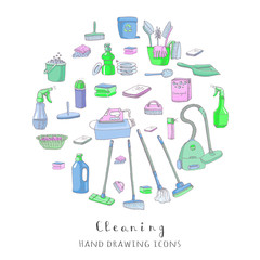 Hand drawn vector cleaning service icons, Cleaning symbols, tools, Detergent, iron, mop, dust pan, brushes, bleach, duster, washing liquid, vacuum cleaner, doodle icons, sketch