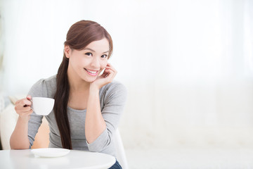 woman drink coffee or tea