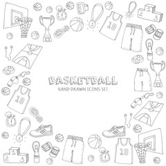 Hand drawn doodle basketball set. Vector illustration. Sketchy sport related icons, basketball elements, ball, hoop, net, basket, backboard, number, sport wear, sport shoes, winner cup