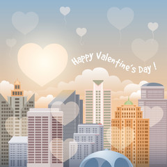 Cityscape with sunlight due to the buildings at sunrise (sundown). Flying hearts over the city. Happy Valentines Day Card. Vector illustration.
