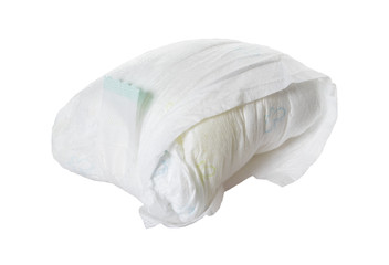 full diaper / full diaper of a baby isolated over a white background