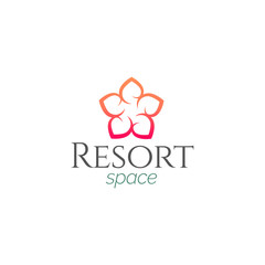 Abstract Minimal Flower Resort Spa Logo icon, Isolated in White Background