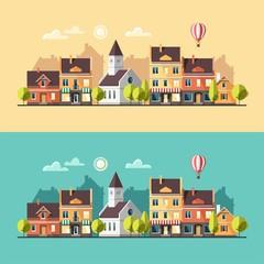 Urban summer landscape. Cityscape. Vector illustration, flat style.