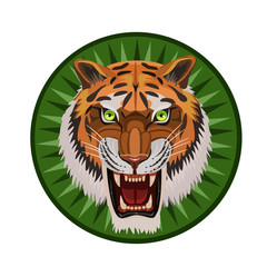 Icon angry tiger/ Icon angry tiger with an open mouth, visible teeth, whiskers, green eyes and an icon for the site