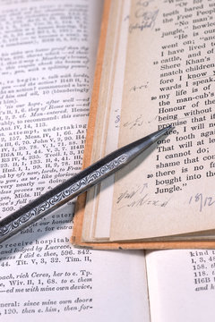 Close up of two old books with vintage shorthand writing as marginal notes and a beautifully engraved old silver clutch pencil.