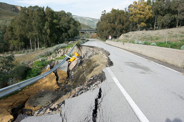 Landslide on a national road in Sicily