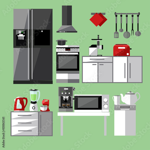 Modern Kitchen Appliances Set Vector Illustration In Flat Style Design Design Elements And