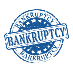 Scratched round blue stamp with the word - bankruptcy - vector svg
