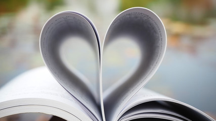 Book of love. Love books, Love reading, Love Story, Heart shape from pages of book for love concept.